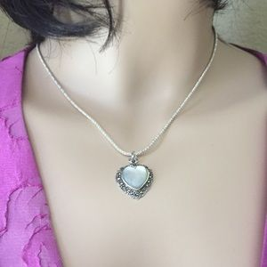 Jewelry - Mother of Pearl & Marcasite Heart Necklace